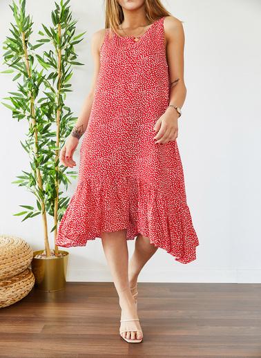 XHAN Eteği Fırfırlı Desenli Kolsuz Elbise 0Yxk6-43383-16 Kırmızı